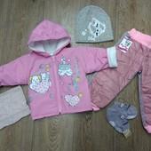 Комплект курточка на девочку 1 год+ шапочкой, штанишки,хомут и носочки. Комплект на выбор