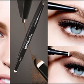 Карандаш-тени для бровей Maybelline brow satin duo Eyebrow pencil, тон dark brown
