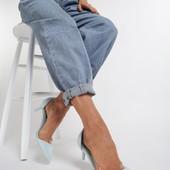 Красивые новые голубые туфли стелька 25,5
