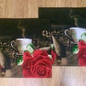 Красивые наволочки. Розы и кофе. 70 Х 70. 2 шт.