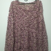 Теплый свитер крупной вязки с буклированной нитью