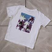 Стоп !❤ Классная белая Фирменная коттоновая футболочка с пальмами,7-8 лет❤ Много лотов!