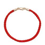 красивый красный переплетенный браслет-оберег косичкой, 19 см, позолота 585 пробы