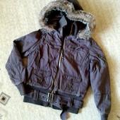 38-40р. Тёплая деми куртка на синтепоне с капюшоном, хлопок New Look