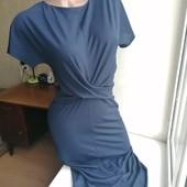 Синее миди платье-карандаш с перехлестом стрейч next