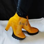 **Тренд 2021г.** Ярко желтые ботинки с утеплителем на тракторной подошве, размер на выбор