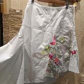 Шикарная нарядная котоновая светлая юбка Вышиванка Новая с биркой р.10 Акция читайте