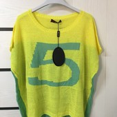 ☘ Лот 1 шт ☘ Туніка-футболка жовто-зелена в'язка від Sarah Chole (Англія), розмір L