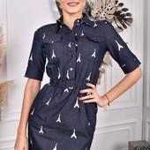 Джинсовое платье стрейч с принтом. Турция.44,46,48 замеры в лоте.