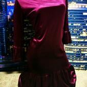 ❤Шикарное платье мраморный бархат дорогая модель бордовый