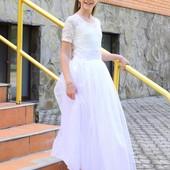 Белое обворожительное платье в Пол 116-146