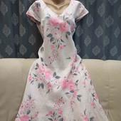 Льняное платье в цветочный принт, р. XL
