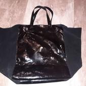 """сумка шопер""""Н&М:(натуральная лаковая кожа + замш)"""