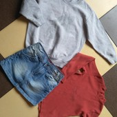 Джинсовая юбка+реглан+толстовка/одним чистым лотом,свои вещи