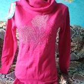 Малиновый свитер стразы бабочка