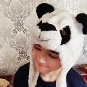 ***Акция- 5 лотов- бесплатная доставка***Детская шапка панда, состояние хорошее