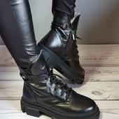 акция, очень теплые кожаные ботинки, зима!! натуральная кожа