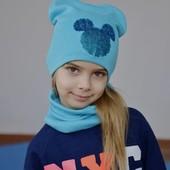 Комплект для девочки шапка+хомут бирюзовый ог 52-56 см весенний
