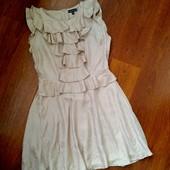 38-40р. Шёлковое пудровое платье с баской Warehouse