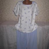 Тёплая мягенькая коттоновая большая пижама 18р., грудь 64, 100% коттон