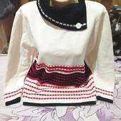Шикарный белоснежный с красным и чёрным тёплый свитерок новый.Акрил.Knitt.xxl,3xl,4xl.Лотов много