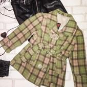 Крутое пальто клетка с поясом