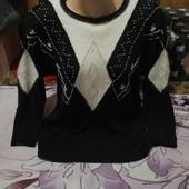 Эксклюзивный чёрный с люрексом тёплый свитерок.Ангора.Акрил.Lara.3xl,4xl,5xl.Лотов много