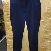 На шикарные формы! Шикарные тёмно-синие стрейчевые зауженные джинсы с высокой посадкой р.22 Акция
