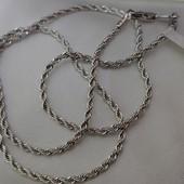 новинка! очень нежная и красивая цепочка, плетение канат-веревка 45 см, родий
