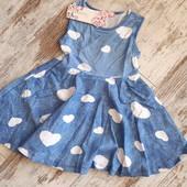 Новое нарядное платьице в сердечки р 98 104 110 116 3-6лет на выбор