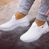 Кроссовки без шнурков белоснежные на массивной подошве. 36-41.