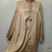 Королевский размер! Шикарная нарядная плотненькая золотая рубашка туника Essence р.28 Новая Акция