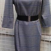 Стильное платье -футляр с поясом. Ткань- костюмка в клетку.