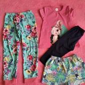 Лот для девочки на 5-6 лет. Пижамные штаны, шорты, футболка с велосипедками.