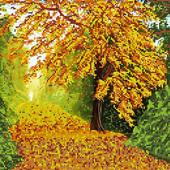 """Велика гарна схема для вишивки картини """"Багряна осінь"""" формат А 3"""