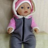 Комбинезон Зайка ! Из мягкого флиса для куклы Беби борн ростом 43 см.Или подобных кукол .