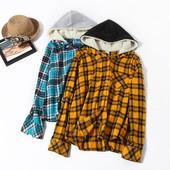 Модная рубашка фланель,с капюшоном, фирма no bo размер XS,цвет желтый!