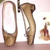 туфли балетки на низком каблуке из натуральной кожи