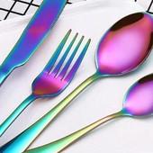 Радужные столовые приборы ложки вилки ножи хамелеон нержавеющая сталь Хамелеон |
