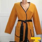 Новое Кашемировое пальто со вставками из экокожи размер 44-46р