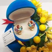 Новинка!!!Очаровательные серьги -колечки с разноцветными кристаллами позолота 585 пробы