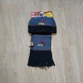 Комплект деми или теплая зима флисовая шапка и шарф marvel со спайдерменом на 4-6 лет. Замеры есть