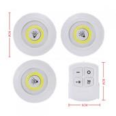Набор светодиодных светильников LED ламп 3 шт + пульт дистанционного управления, два режима яркости