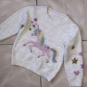 Стоп !❤ Пушистый, мягенький теплый Фирменный свитерок с Единорожкой,4-5 лет❤ Много лотов!