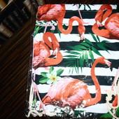 рюкзак сумка для обуви, покупок. Фламинго, лен, прочные веревки. читайте