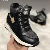 Зимние кроссовки ботинки для девочки черные 27р на меху