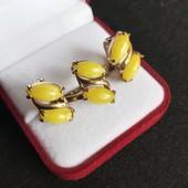 Красивый набор проба 925 позолота(лимонное золото) желтый агат