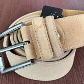 Кожаный замшевый ремень ручной работы (унисекс)