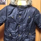 Куртка. весна, внутри флис, верх с пропиткой, р. 24 месяца 83-89 см, Kiabi. состояние отлич