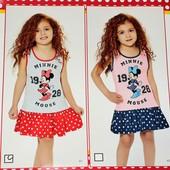 """Качественные платья для девочек """"Минни"""" от Дисней Производство Турция, 100% Хлопок"""